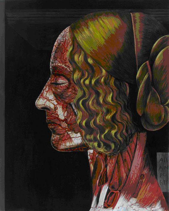"Retrato de ""Giovanna Tornabuoni de Ghirlandaio"". Acrílico sobre tela"