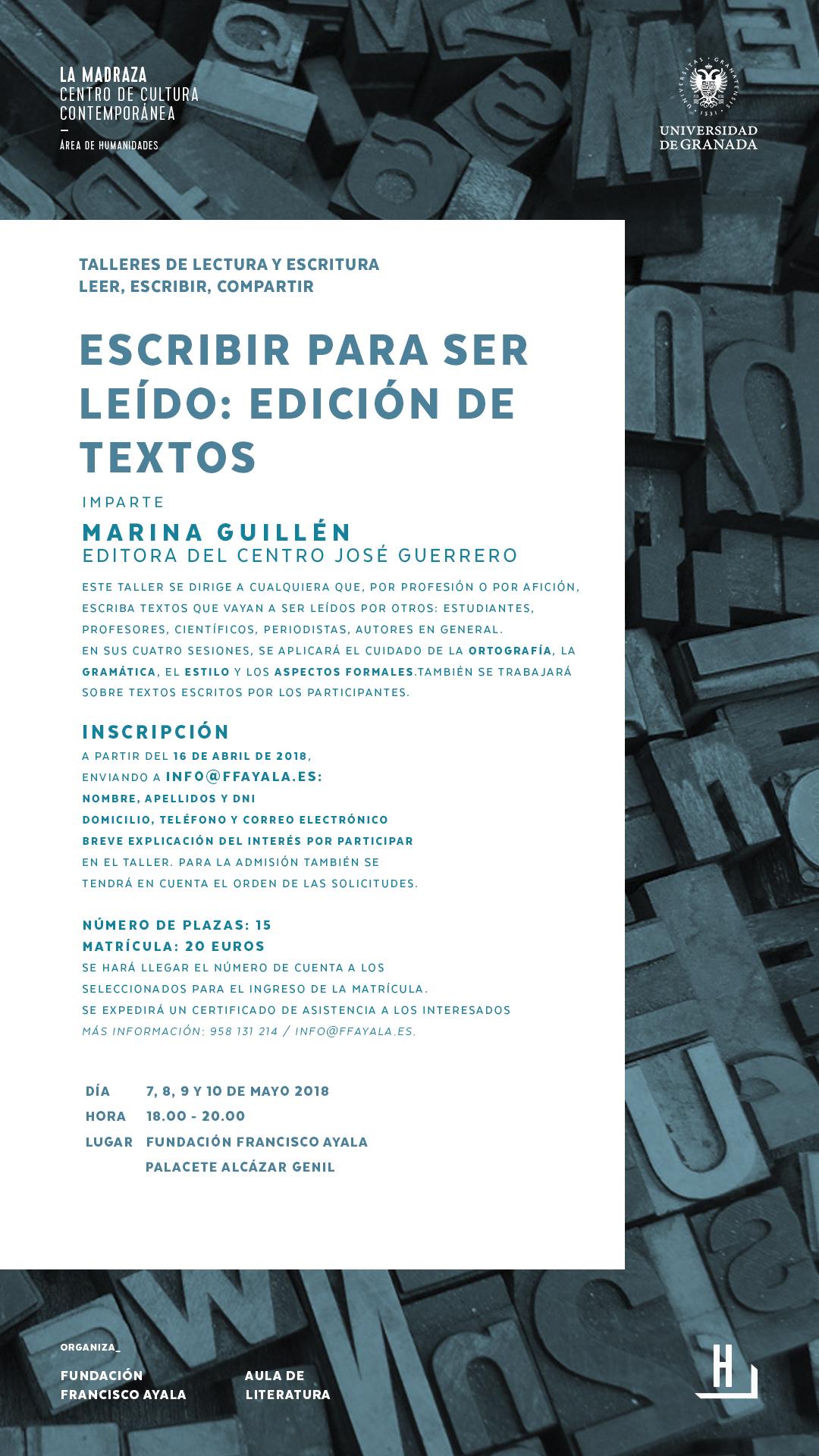 Imagen de portada de Taller «Escribir para ser leído: edición de textos»