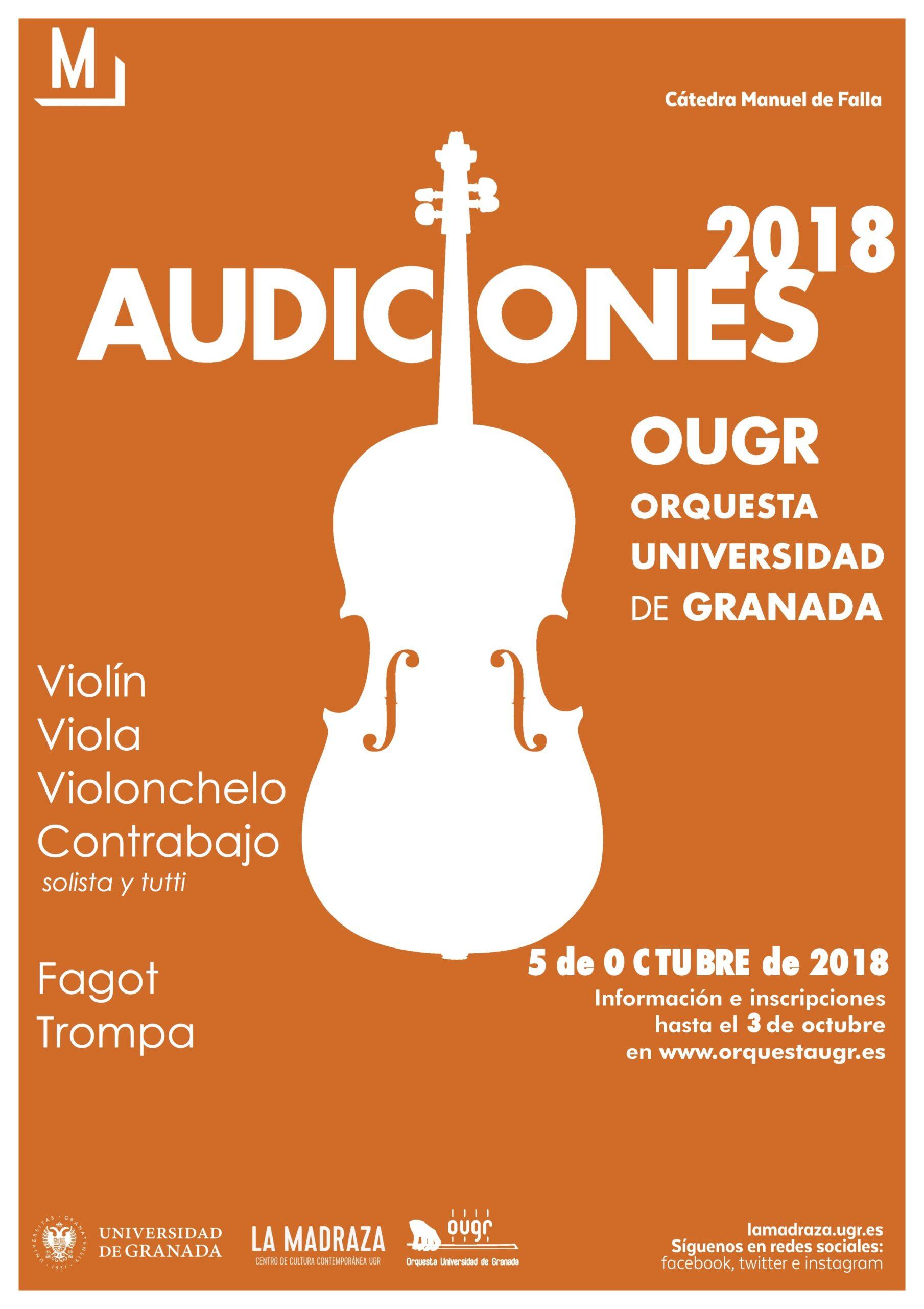 Imagen de portada de Audiciones de acceso a la Orquesta de la UGR