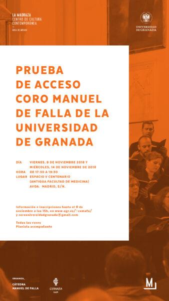 Imagen de portada de Prueba de acceso Coro Manuel de Falla de la Universidad de Granada