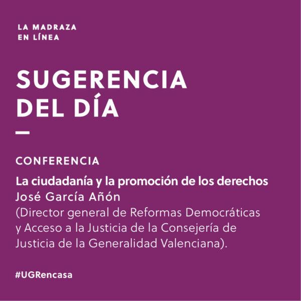Imagen de portada de Sugerencia del día: Conferencia 'La ciudadanía y la promoción de los derechos'