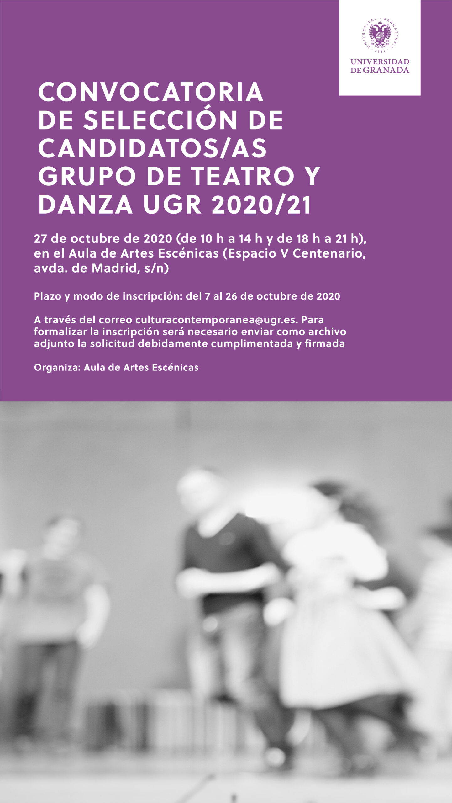 Imagen de portada de Convocatoria de selección de candidatos/as Grupo de Teatro y Danza UGR 2020/21