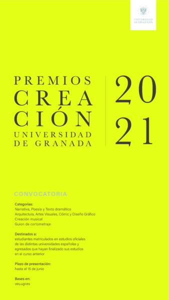 Imagen de portada de Premios de la UGR a la creación artística para estudiantes universitarios 2021